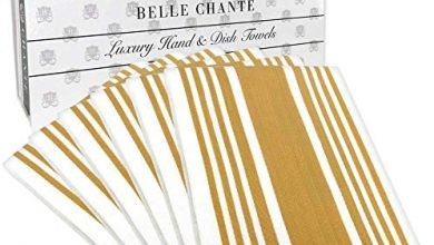 Photo of BELLE CHANTE Luxury Hand and Kitchen Dish Towels Woven from 100% Responsibly-Farmed, Thick, Luxurious Cotton, Oversized 20 x 30 inches, One Half Dozen, Gold Stripe