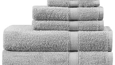 Photo of PHRIXUS 100% Cotton Towel Sets, Hotel & Spa Premium Quality, Highly Absorbent, Soft, Quick Dry, 600 GSM Luxury 6 Piece – 2 Bath Towels, 2 Hand Towels, 2 Washcloths for Bathroom, Shower, Light Grey