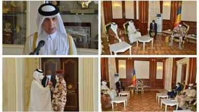 Photo of HE Minister of State for Foreign Affairs Sultan bin Saad al-Muraikhi meets Chad leader