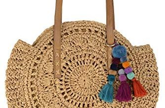 Photo of Beach Bag Straw Handbags for Women Natural Chic Large Round Bohemian Shoulder Hand Bag Wallet Purse